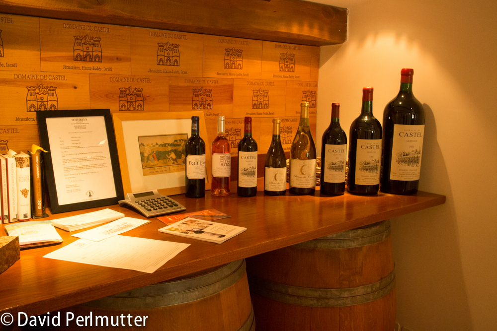 Domaine do Castel's Wines Displayed in the Tasting Room.